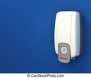 Hand sanitizer dispenser on blue wall with layout copy space...