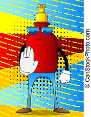 Hand sanitizer gel showing deny or refuse hand gesture.