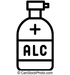 Hand sanitizer vector illustration, line style icon