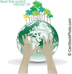 Hand Save The Earth Conceptual