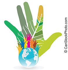 Hand Save The Earth Conceptual - Hand Save The Earth...