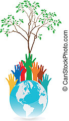 Hand Save The Earth Conceptual. vector illustration