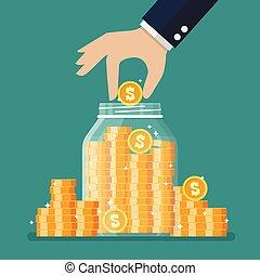 Hand saving coins in glass jar