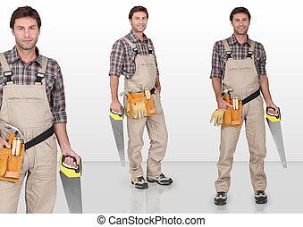 hand-saw, charpentier, tenue