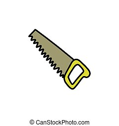 hand saw doodle icon, vector color illustration