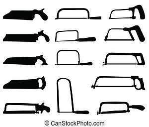 hand saw - Black silhouettes of hand saw, vector...