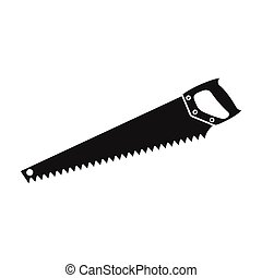 Hand saw icon in black style isolated on white background. Sawmill and timber symbol stock vector illustration.