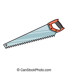 Hand saw icon in cartoon style isolated on white background. Sawmill and timber symbol stock vector illustration.