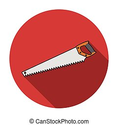 Hand saw icon in flat style isolated on white background. Sawmill and timber symbol stock vector illustration.