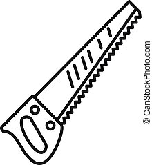 Hand saw icon, outline style