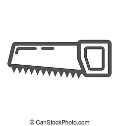 hand saw line icon thin contour on white background