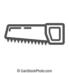 hand saw line icon thin contour on white background