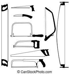 Hand saw. Set of silhouettes carpentry tools for sawing wood...