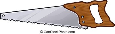 Vector cartoon clipart picture of a hand saw