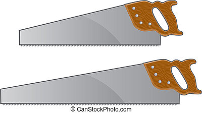 Illustration of two hand saws with wooden handles