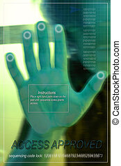 Hand scan - Image depicting advances in technology in the...