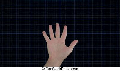 Hand scanner animation on black background