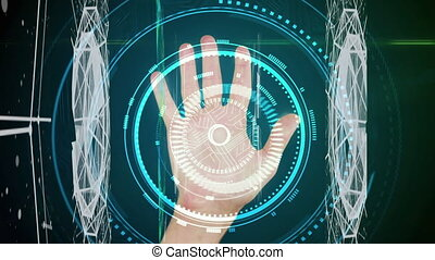 Animation of digital interface scope scanning data processing biometric hand scan recording. Global technology online network concept digitally generated image.