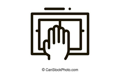 Hand Scanning Icon Animation. black Hand Scanning animated icon on white background