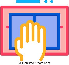 Hand Scanning Icon Vector Outline Illustration
