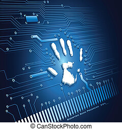 Hand Scanning - illustration of analysing of hand scanning ...