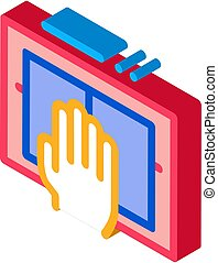 Hand Scanning isometric icon vector illustration