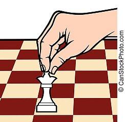 hand, schaakspel, figuur, vasthouden