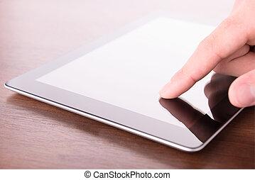 hand scherm aan te raken, op, moderne, digitaal tablet, pc