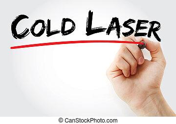 hand schreiben, kalte , laser, mit, markierung