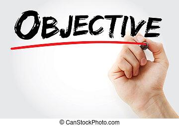 hand schreiben, objektiv, mit, markierung