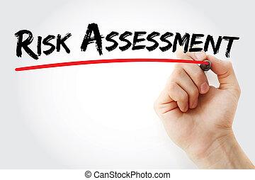 hand schreiben, risikobewertung, mit, markierung