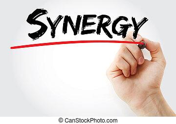 hand schreiben, synergie, mit, markierung
