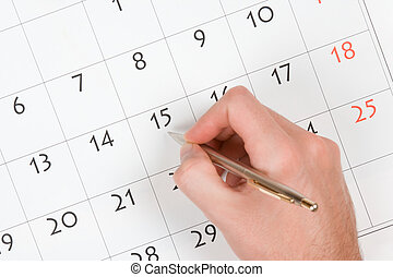 hand, schrijf, in, kalender