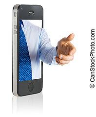 hand schud, in, mobiele telefoon