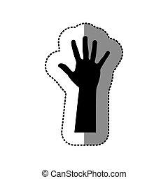 hand, schwarz, auf, ikone