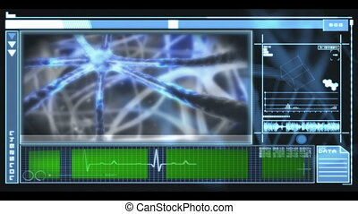 Hand scrolling through medical interface showing neurons and copyspace in blue