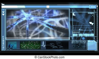 Hand scrolling through medical interface showing different...