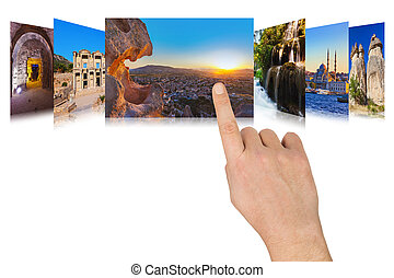 Hand scrolling Turkey travel images