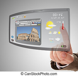hand searching a information on touchscreen tablet