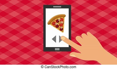 order food online - hand searching fast food on screen...