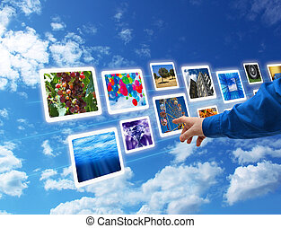 Hand select images flow - Male hand selecting images...