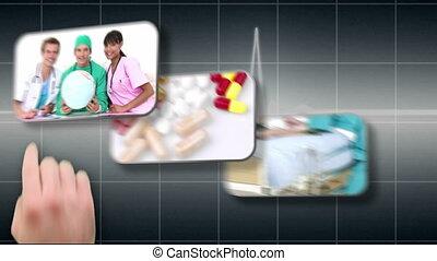 Hand selecting various medical imag