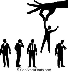 A female hand to find, select, choose, pick a business man to dangle above a line of business people.