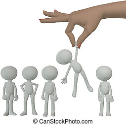 Hand selects cartoon person from group of people - A female...