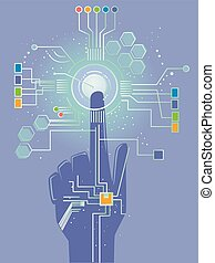 Hand Sensor Technology Illustration - Illustration of a Hand...