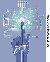 Hand Sensor Technology Illustration - Illustration of a Hand...