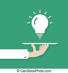 hand serving idea bulb. concept of dollar, project invent,...