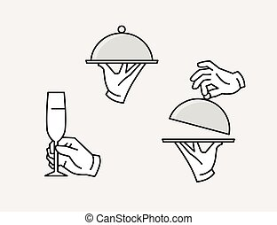 Hand serving tray icon