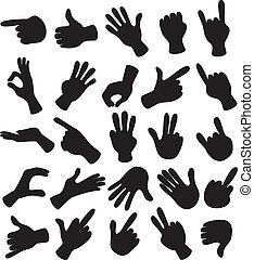 Hand Set - Cartoon illustration of hand signals, gestures,...