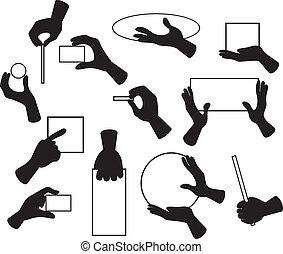 Hand Set - Cartoon illustration of hand signals, gestures,...